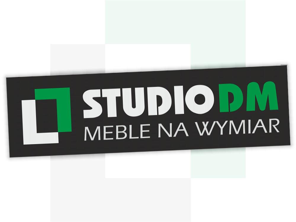 Projekt logo dla StudioDM - ciemne tło